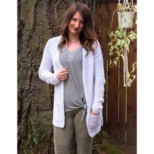 Chunky Cardigan Sweater in White